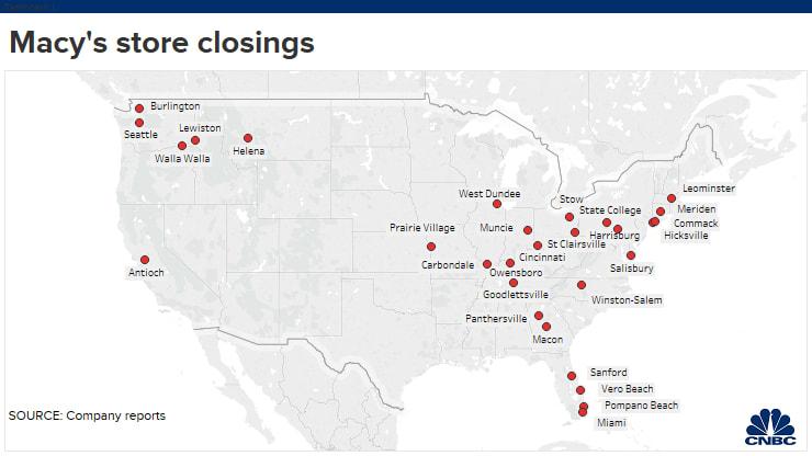 Macy's store closings map