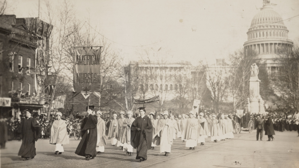 Nurses marched in support of the suffrage movement, March 3, 1913, near Capitol Hill, Washington, D.C. A century later, women would once more find themselves on the street to march against anti-women policies.