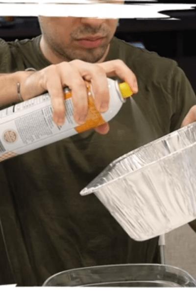 Spraying a pan