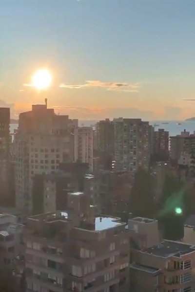 Still image of view from a Vancouver apartment building
