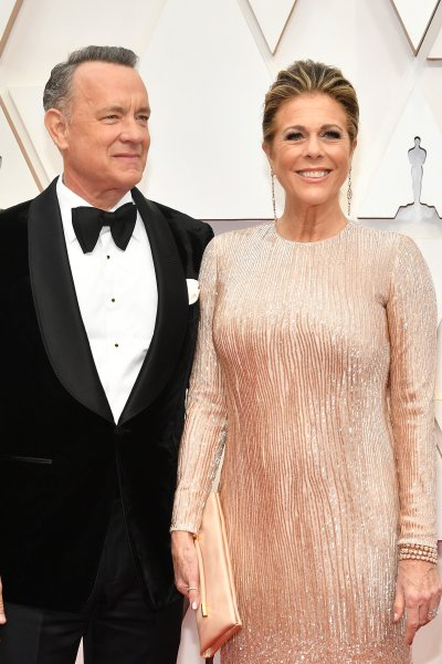 In this file photo, Tom Hanks and Rita Wilson attend the 92nd Annual Academy Awards at Hollywood and Highland on February 09, 2020 in Hollywood, California.