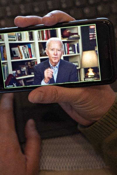 Former Vice President Joe Biden speaks during a virtual press briefing