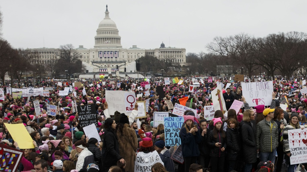 "Protesters gather outside the Capitol Building during the ""Women's March on Washington"" in Washington, D.C., Jan. 21, 2017. People took over cities in the U.S. the day after Donald Trump's inauguration to protest the new administration and push for gender equality."