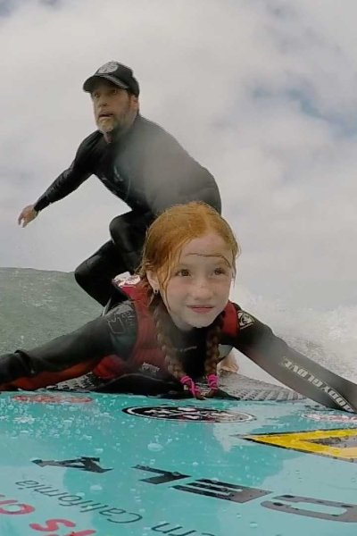 Surfing in the water
