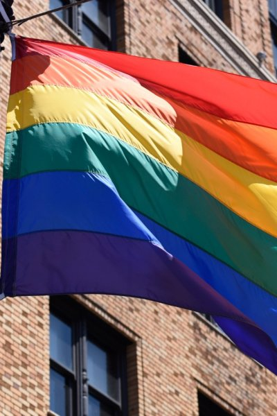 The Pride Flag flies majestically over the San Francisco Gay Pride parade on June 30, 2019 in San Francisco.