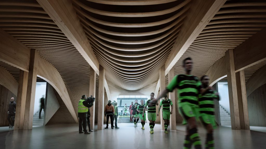 Imagen computarizada del diseño del estadio Eco Park en Inglaterra, diseñado por Zaha Hadid Architects