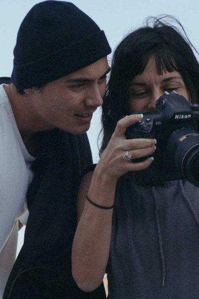 A women holding a camera