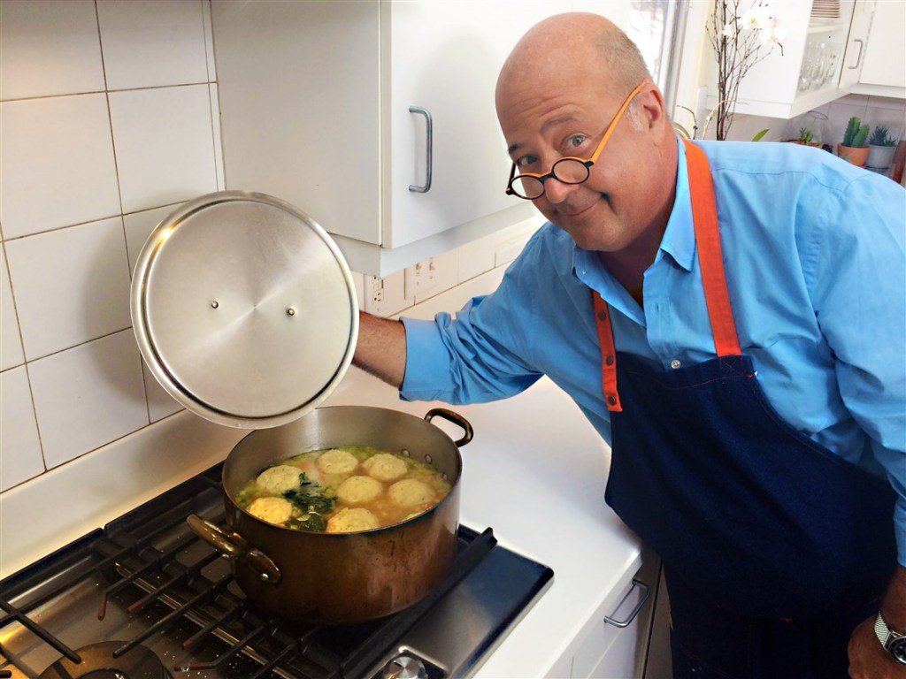Andrew Zimmern making his signature matzo ball soup