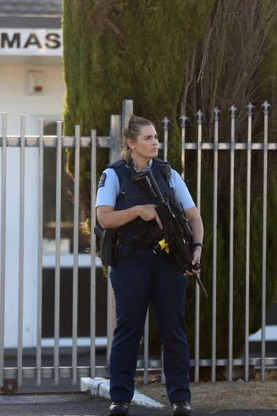 Armed police maintain a presence outside the Masijd Ayesha Mosque in Manurewa on March 15, 2019 in Auckland, New Zealand.