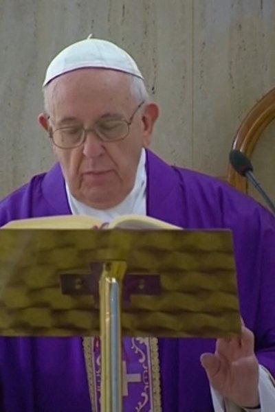 Pope Francis during a livestream of his private mass