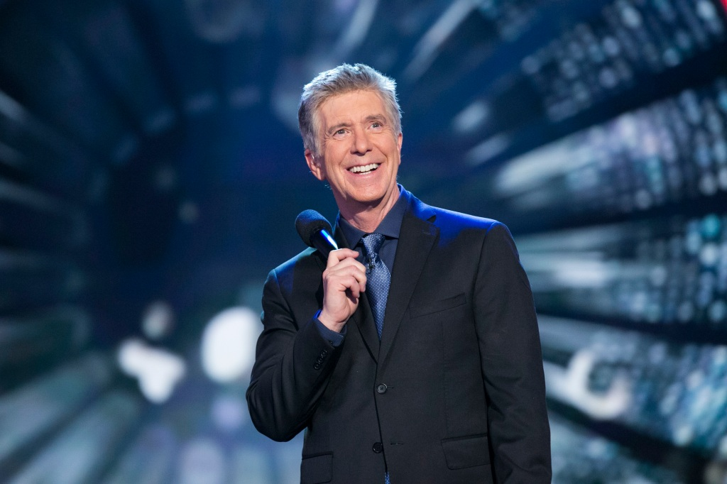 "In this Nov. 23, 2015, file photo, Tom Bergeron hosts the final four couples in ""Dancing With the Stars."""