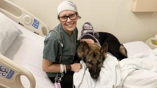 Sydnee Geril and her service dog, Tulsa.