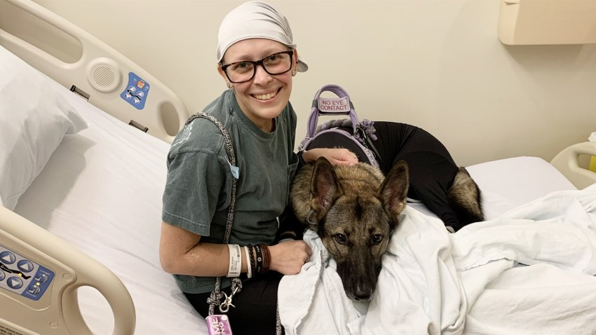 Sydnee Geril and her service dog, Tulsa.