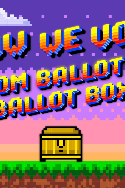 """8-bit illustration with title: """"How we vote, from ballot to ballot box."""""""