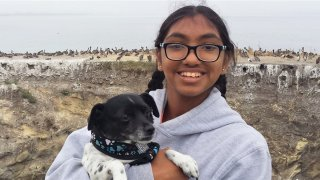 Meena Kumar and her rescue dog Bambie.