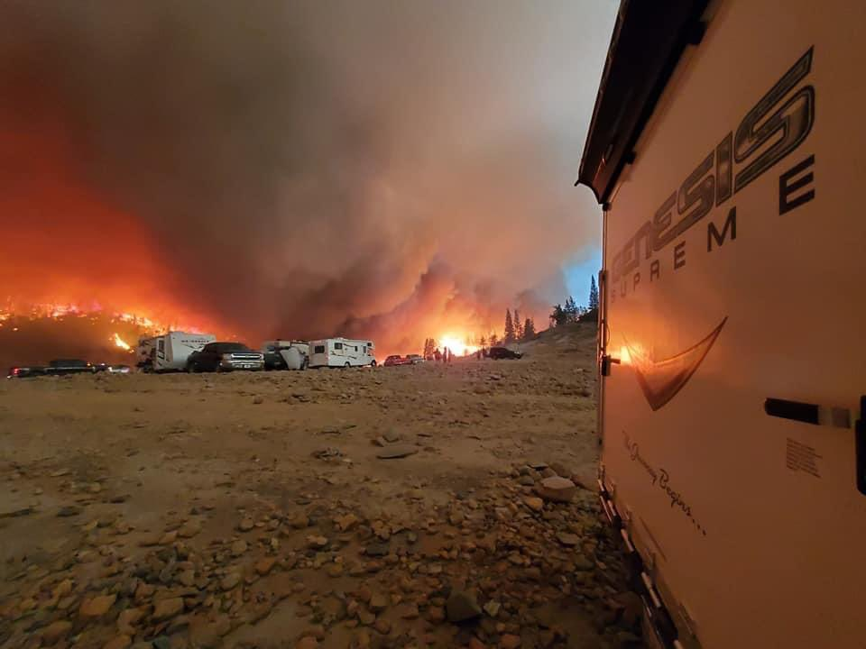 A view of the Creek Fire from a camp site on Sept. 5, 2020.