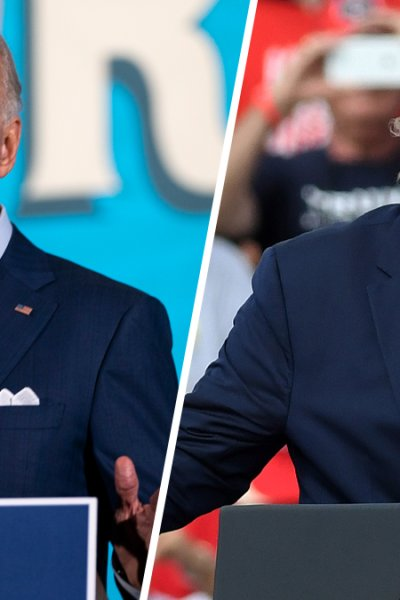 Democratic presidential nominee Joe Biden, and President Donald Trump, speaks at their respective rallies in Tampa, Florida, Oct. 29, 2020. Both candidates are wooing swing states like Florida and Pennsylvania in an effort to swing the tide their way with just five days left until the election.