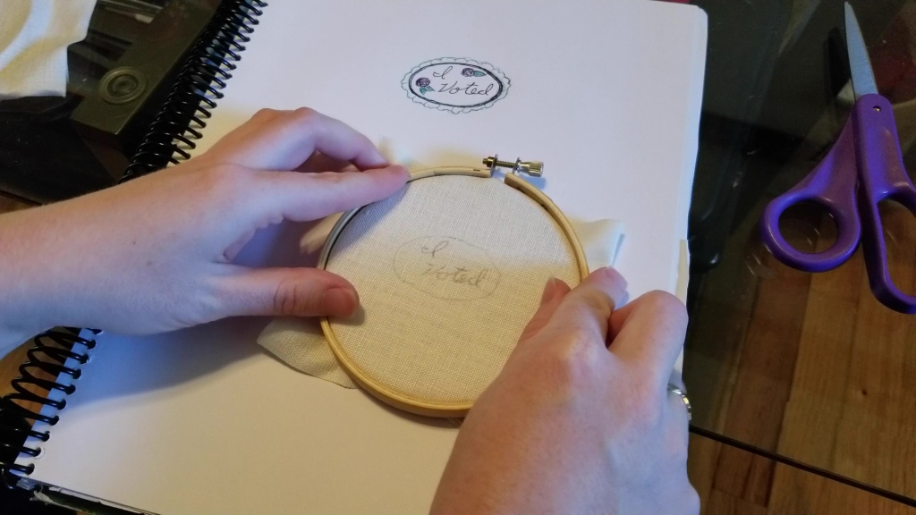Embroidering an 'I Voted' Pin