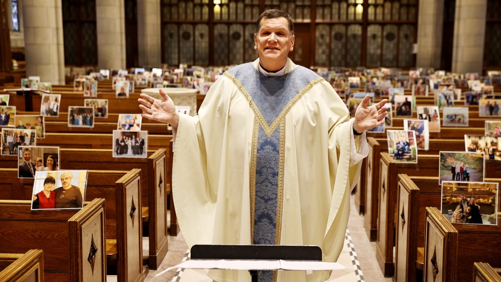 Rev. Brian X. Needles delivers Easter Sunday mass via livestream on April 12, 2020, at Our Lady of Sorrows Catholic Church in South Orange, New Jersey.