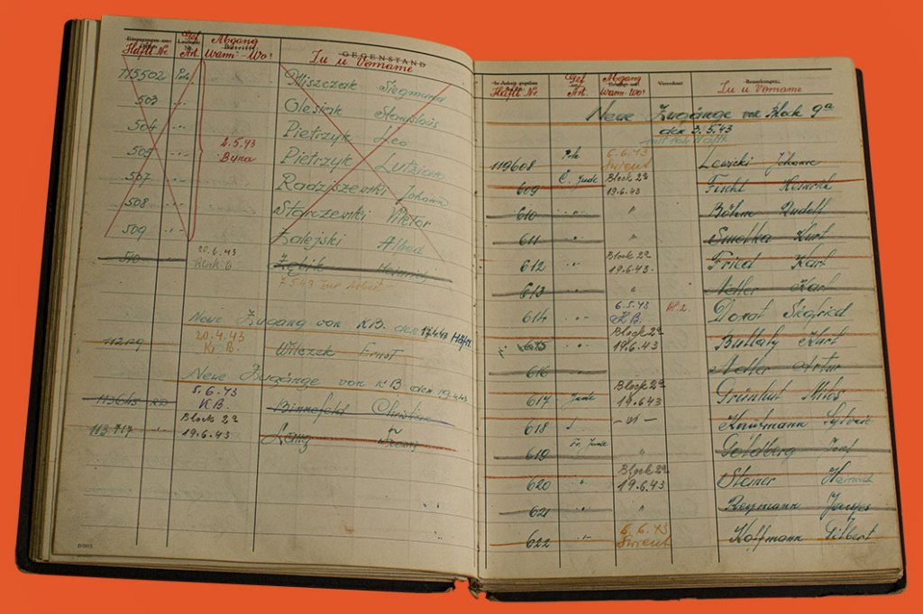 Page from Auschwitz Block 8 Logbook. Concentration camp logbooks, like this one from Auschwitz Block 8, were used to document prisoners that entered the camp. On each page there are lists of each prisoner that entered with information including their identification number, ethnicity (Pole, Jew, etc.), departure date (code for murdered), and name. Many of the names on these pages are crossed out meaning that these prisoners were murdered by the Nazis.