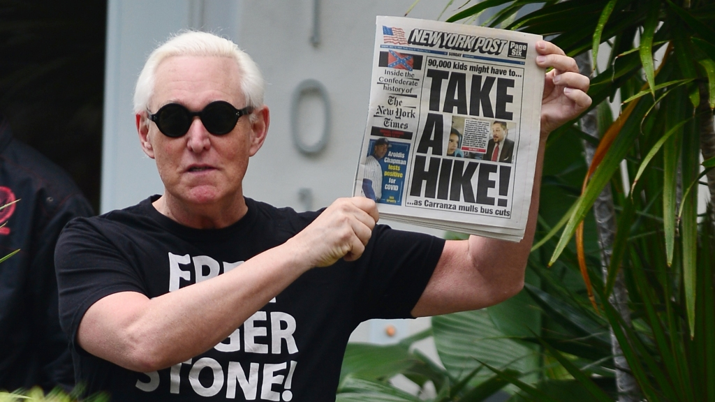 Roger Stone makes an appearance outside his house on July 12, 2020, in Fort Lauderdale, Florida. Stone, a longtime friend and advisor to President Donald Trump, recently had his prison sentence commuted by the president.