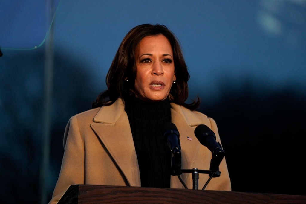 Vice President-elect Kamala Harris speaks during a COVID-19 memorial Tuesday, Jan. 19, 2021, in Washington.