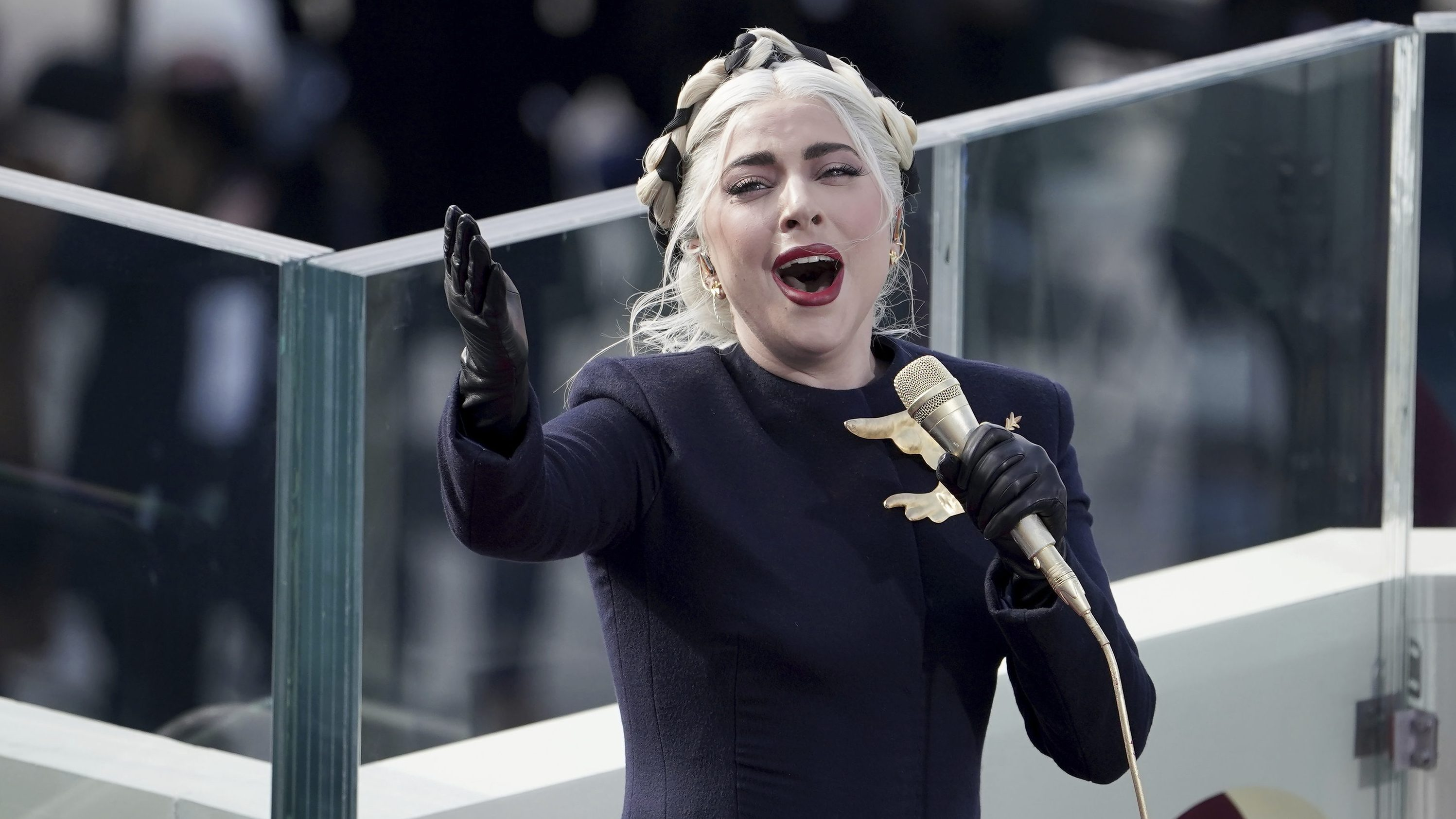 Lady Gaga sings the national anthem during the 59th Presidential Inauguration at the U.S. Capitol for President-elect Joe Biden in Washington, D.C., Jan. 20, 2021. (Greg Nash/AP)