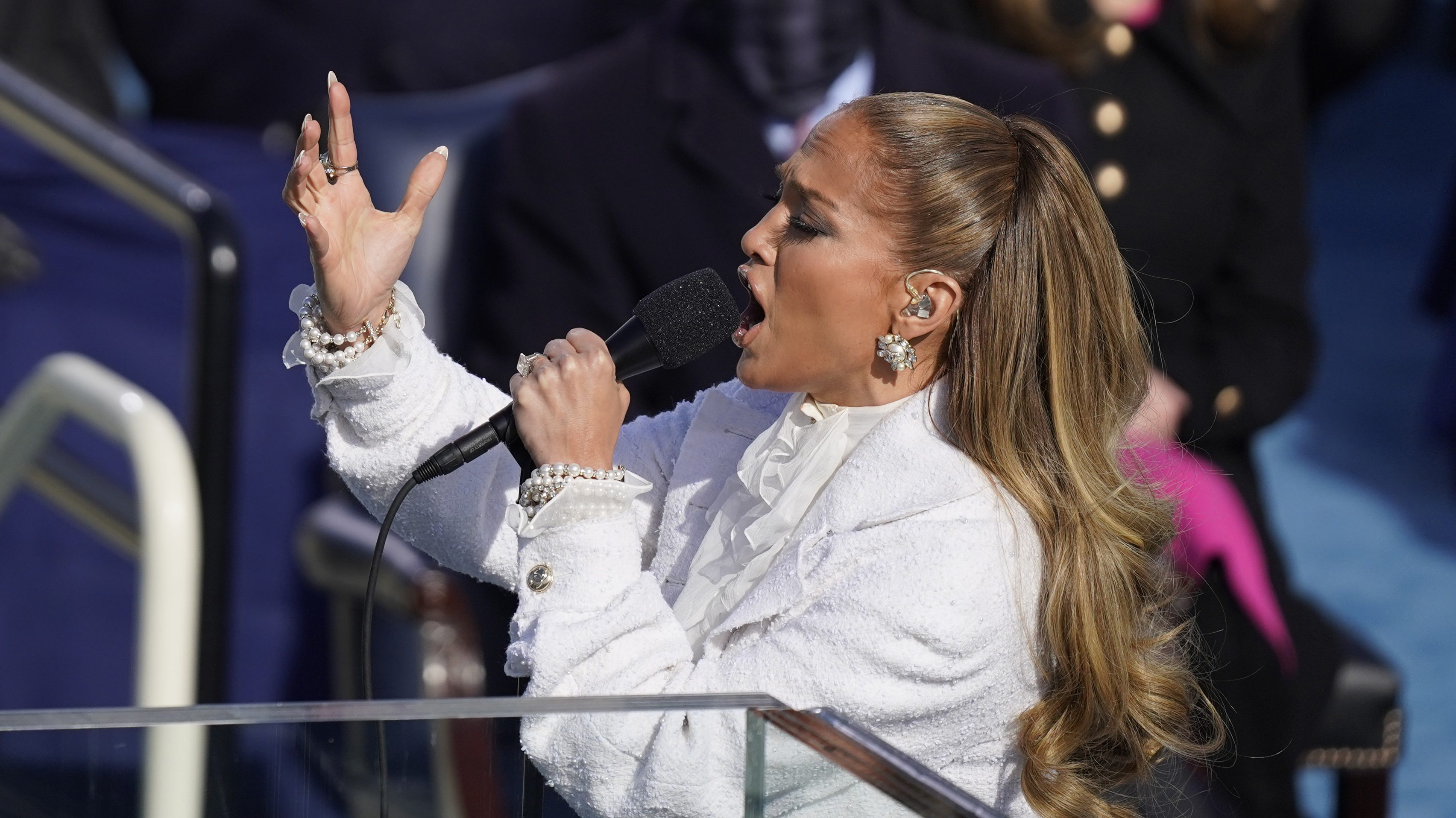 Jennifer Lopez performs during the 59th presidential inauguration in Washington, D.C. on Wednesday, Jan. 20, 2021.