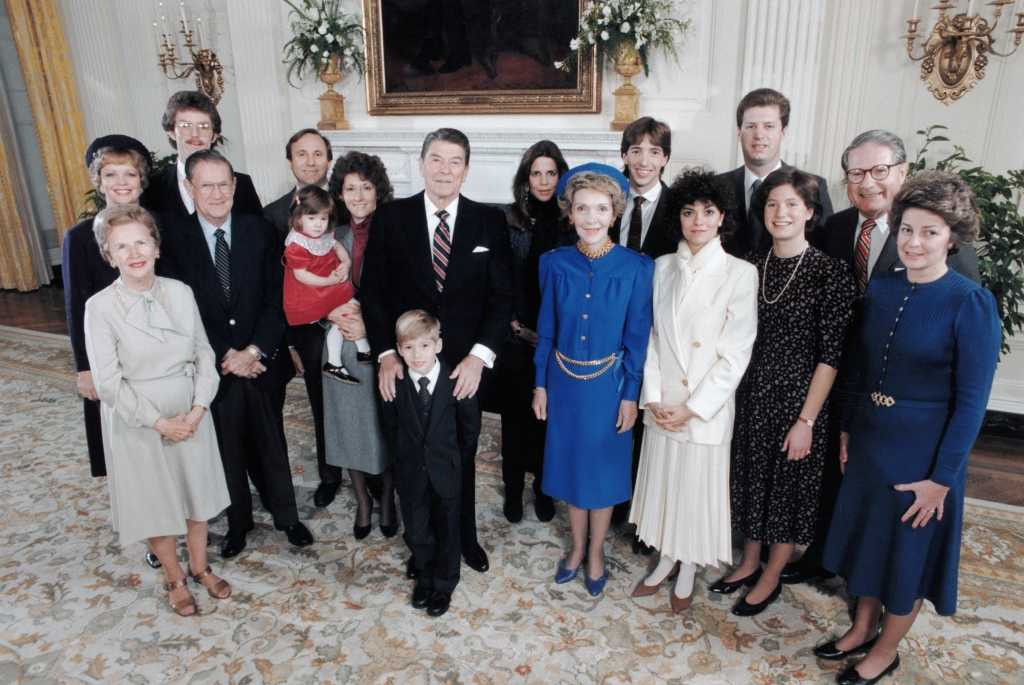 President Ronald Reagan Posing with Wife Nancy and Family Members