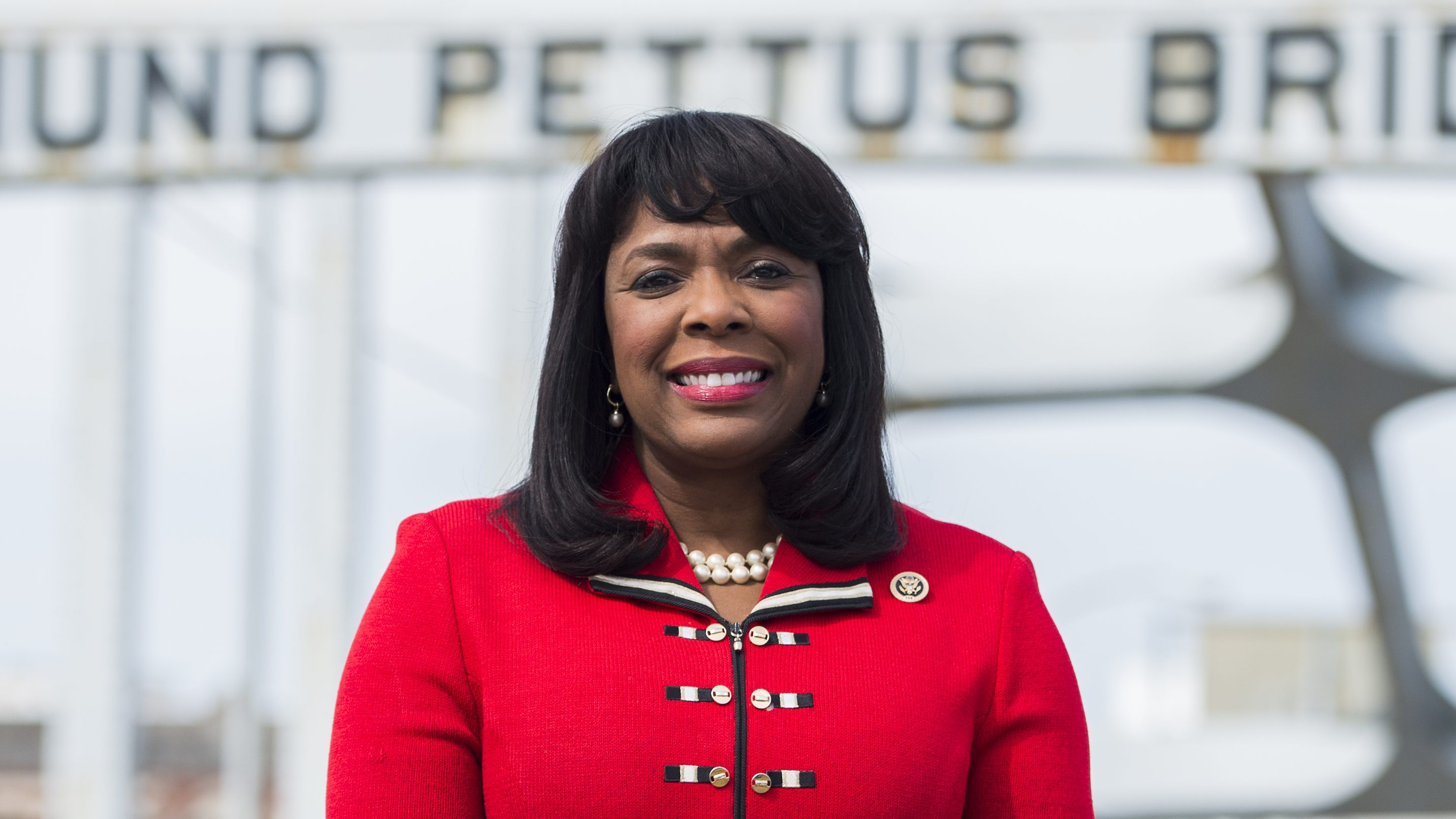 Rep. Terri Sewell, D-Alabama, poses on the Edmund Pettus Bridge in Selma, Feb. 15, 2015.