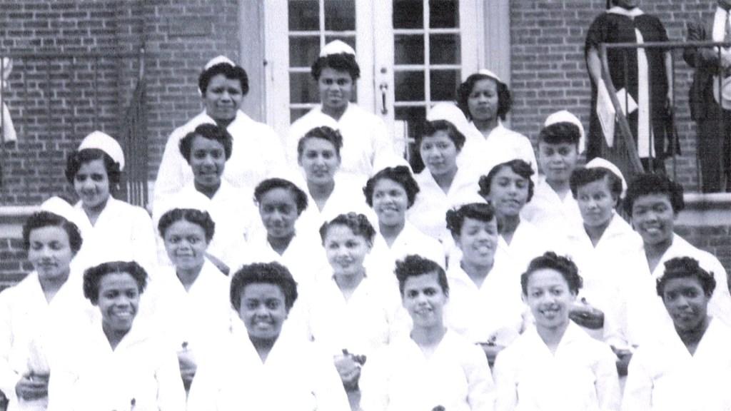 Elizabeth Williams and fellow nursing students at Mercy-Douglass Hospital.
