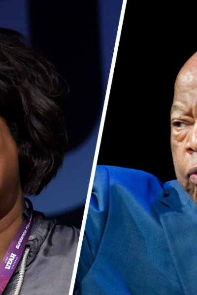 """Dawn Porter, director of """"John Lewis: Good Trouble,"""" at left; former Representative and civil rights activist John Lewis, right."""