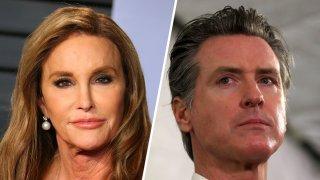 Combinación de fotos del gobernador de California, Gavin Newsom, y la estrella deportista Caitlyn Jenner.
