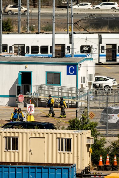 Emergency personnel respond to a shooting at a Santa Clara Valley Transportation Authority (VTA) facility on Wednesday, May 26, 2021, in San Jose, Calif. Santa Clara County sheriff's spokesman said the rail yard shooting left multiple people, including the shooter, dead.