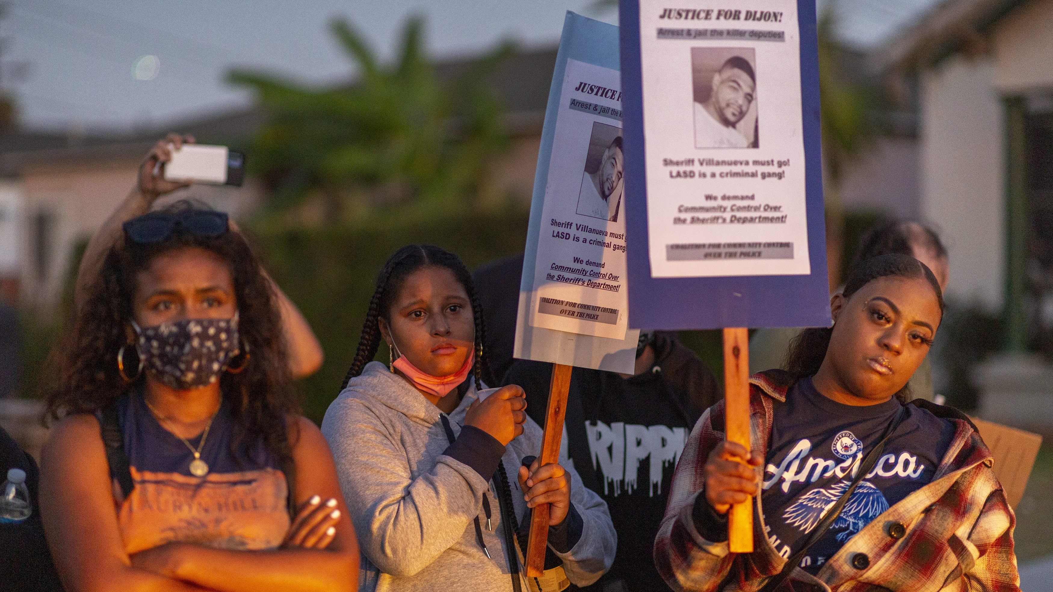 Activists March To South Los Angeles Sheriffs' Station To Protest Police Shooting Death Of Dijon Kizzee
