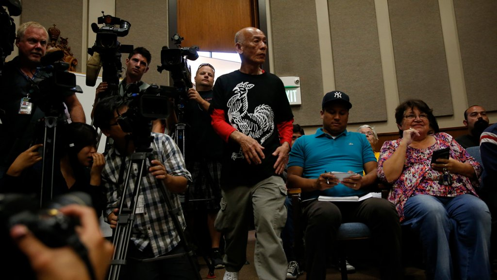 Sriracha plant owner David Tran arrives at the Irwindale city council meeting