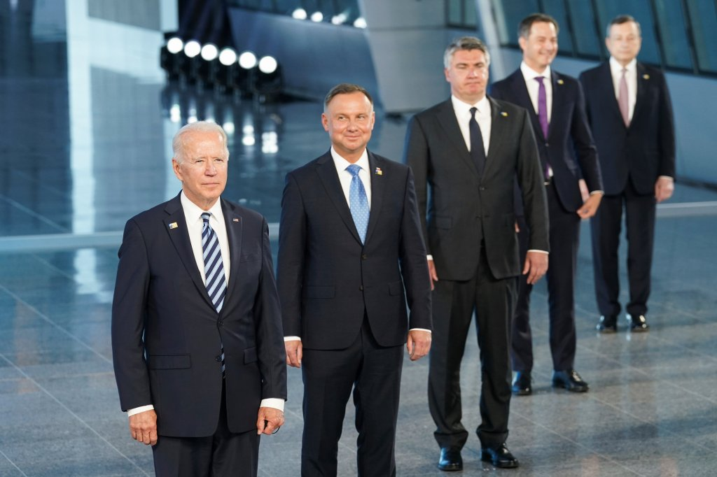 President Joe Biden and other NATO heads of the states and governments pose for a family photo
