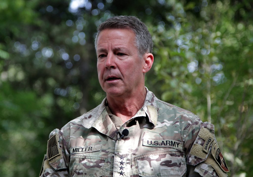 """U.S. Army Gen. Austin S. Miller, the U.S.'s top general in Afghanistan, speaks to journalists at the Resolute Support headquarters, in Kabul, Afghanistan, Tuesday, June 29, 2021. Miller on Tuesday gave a sobering assessment of the country's deteriorating security situation as America winds down its so-called """"forever war."""" He pointed to the rapid loss of districts around the country — several with significant strategic value — and said he fears the militias deployed to help the security forces could lead the country into civil war."""