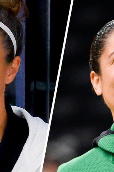 San Antonio Spurs assistant coach Becky Hammon, left; Duke Blue Devils head coach Kara Lawson, right.