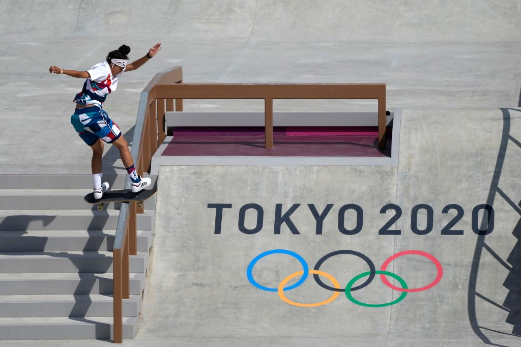 Mariah Duran of the United States competes in the women's street skateboarding finals at the 2020 Summer Olympics, Monday, July 26, 2021, in Tokyo, Japan.