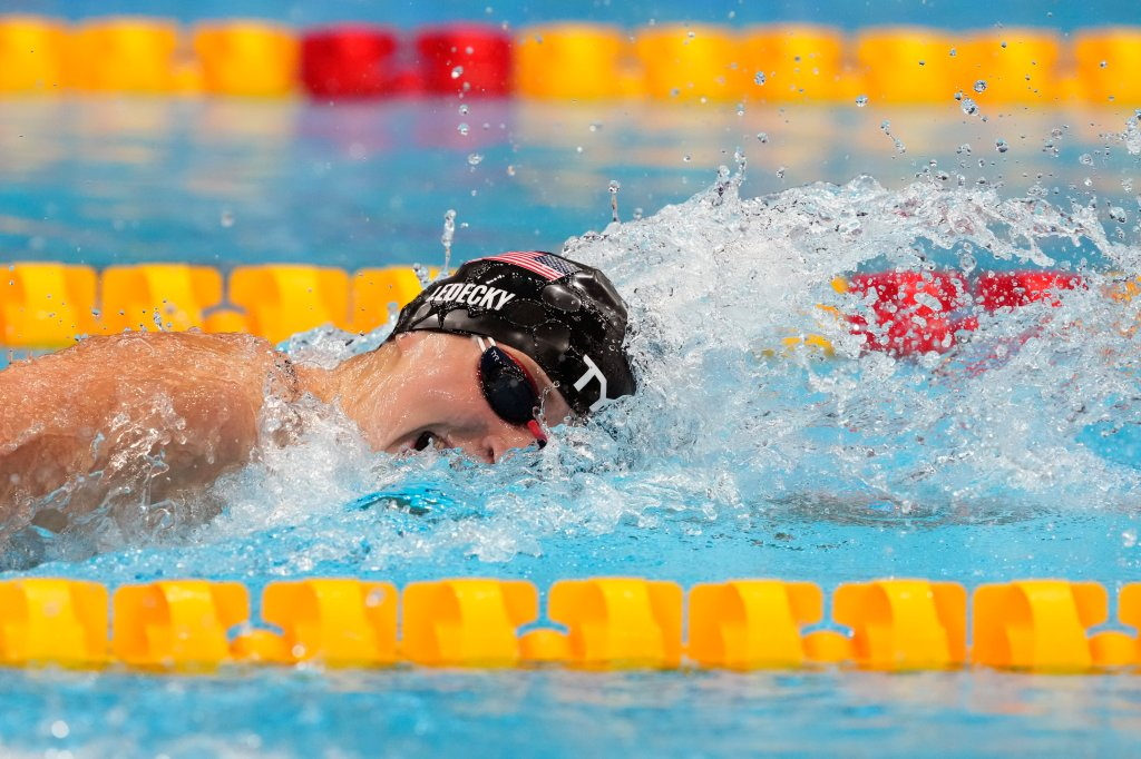 Katie Ledecky, of the United States, swims in the final of the women's 400-meters freestyle at the 2020 Summer Olympics, Monday, July 26, 2021, in Tokyo, Japan.