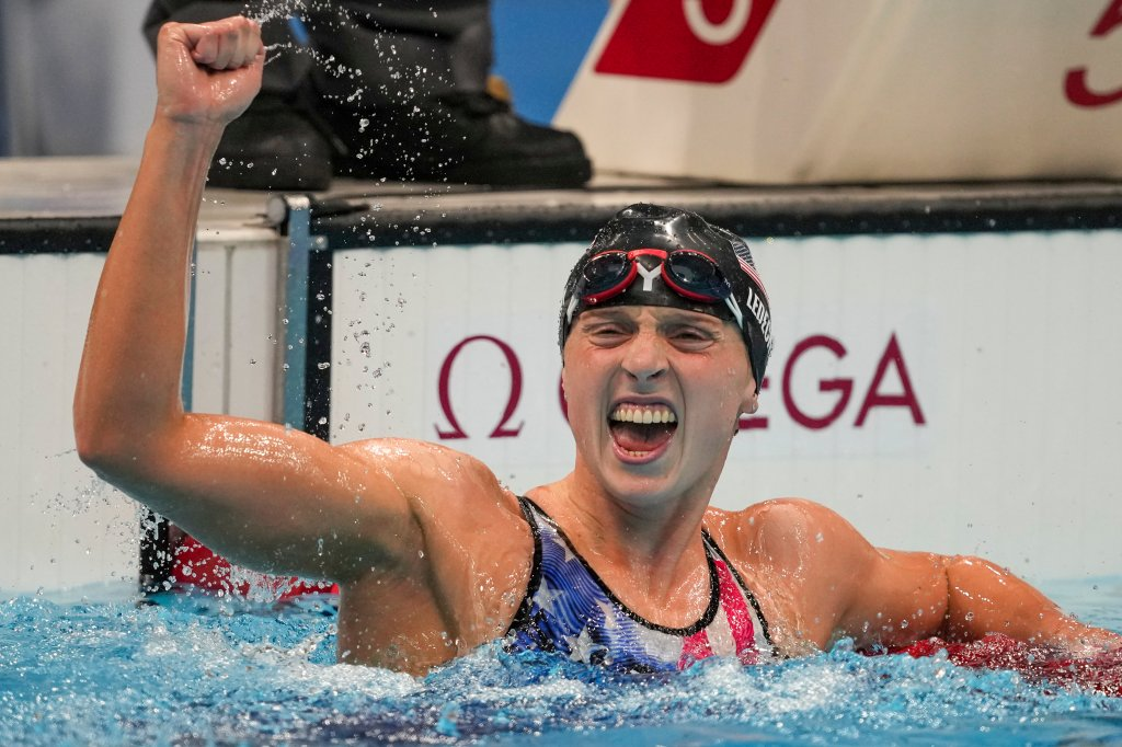Katie Ledecky, of the United States, reacts after winning the women's 1500-meters freestyle final at the 2020 Summer Olympics, Wednesday, July 28, 2021, in Tokyo, Japan.