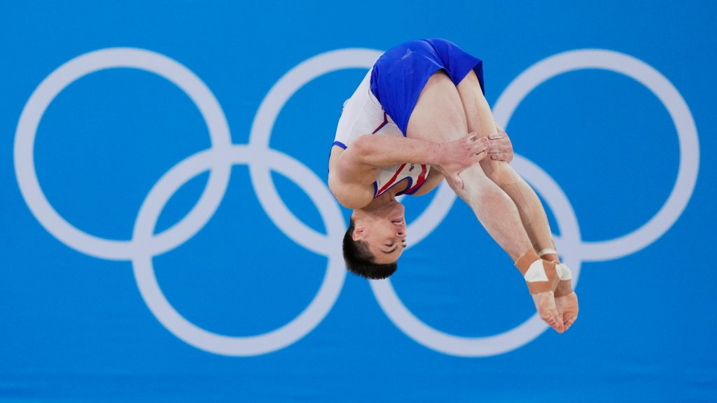Nikita Nagornyy, of the Russian Olympic Committee, performs on the floor during the artistic gymnastic men's all-around final at the 2020 Summer Olympics, Wednesday, July 28, 2021, in Tokyo.