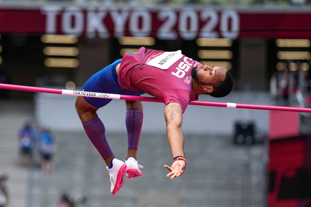 Trey Cunningham, of United States, competes in the preliminary round of the men's high jump