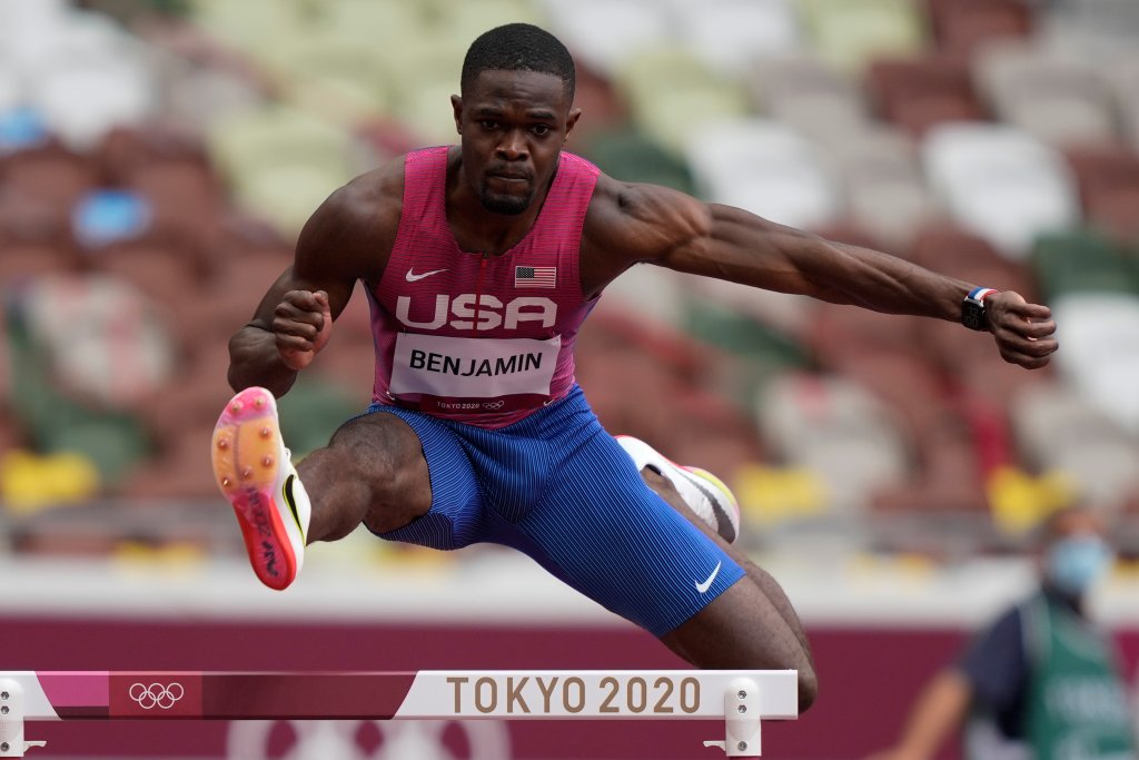 Rai Benjamin, of United States, competes in a heat in the men's 400-meter hurdles