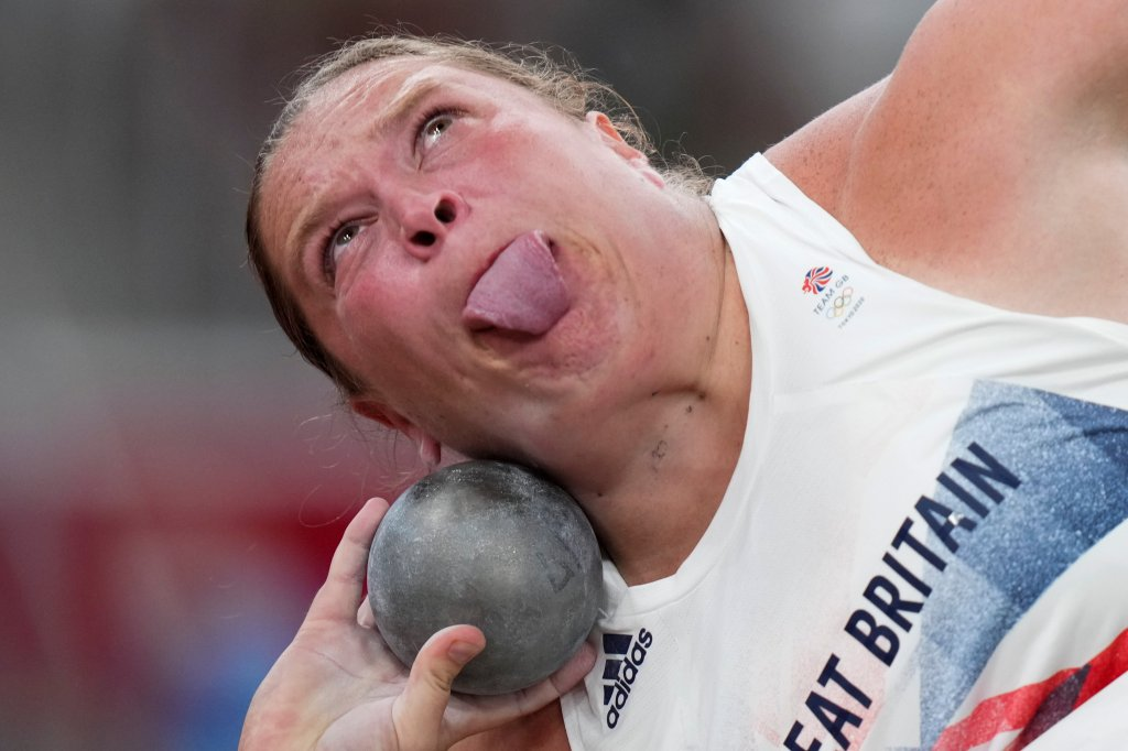Sophie Mckinna, of Britain, competes in the qualification rounds of the women's shot put at the 2020 Summer Olympics, Friday, July 30, 2021, in Tokyo.