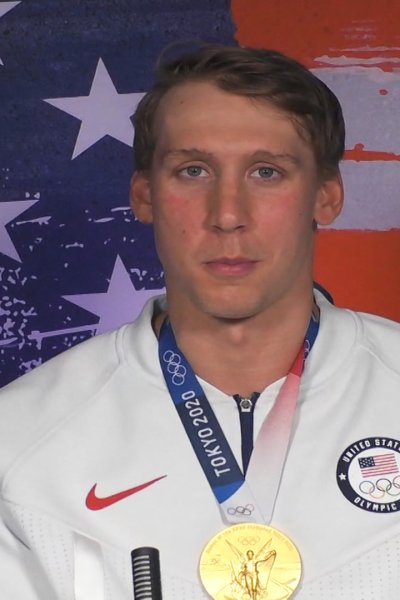 Swimmer Chase Kalisz looks at the camera