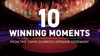 Words reading '10 winnng moments from the Tokyo Olympics Opening Ceremony'