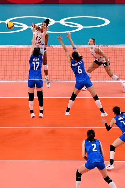 Team USA women's volleyball plays China.