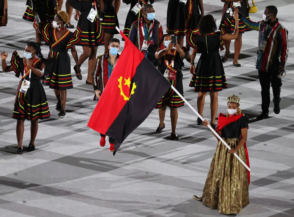 Delegation from Angola takes part in the Parade of Nations at the opening ceremony of the Tokyo 2020 Summer Olympic Games at the National Stadium.